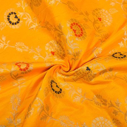 Yellow Red and Golden Floral Banarasi Silk Fabric-12181