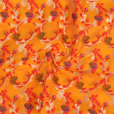 Yellow Red and Golden Floral Digital Banarasi Silk Fabric-9228