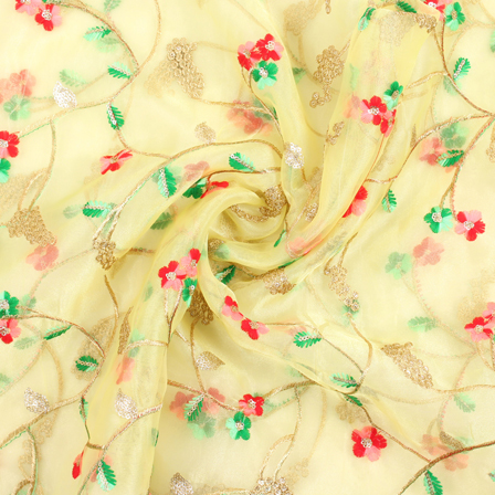 Yellow-Red and Golden Flower Organza Embroidery Fabric-51452