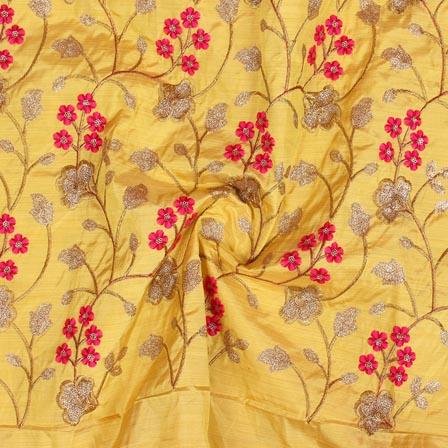 Yellow Red and Golden Jalbari Embroidery Silk Fabric-61024