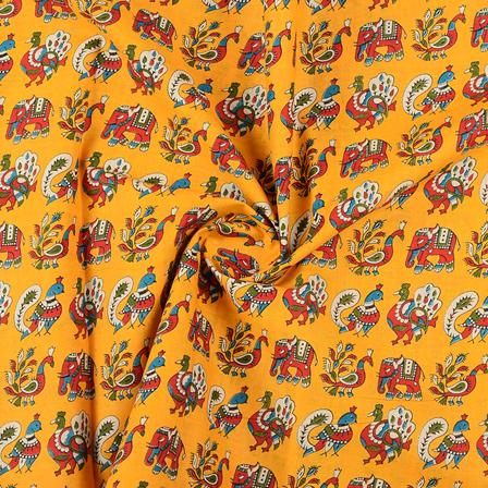 Yellow-Red and Green Elephant Cotton Kalamkari Fabric-10136