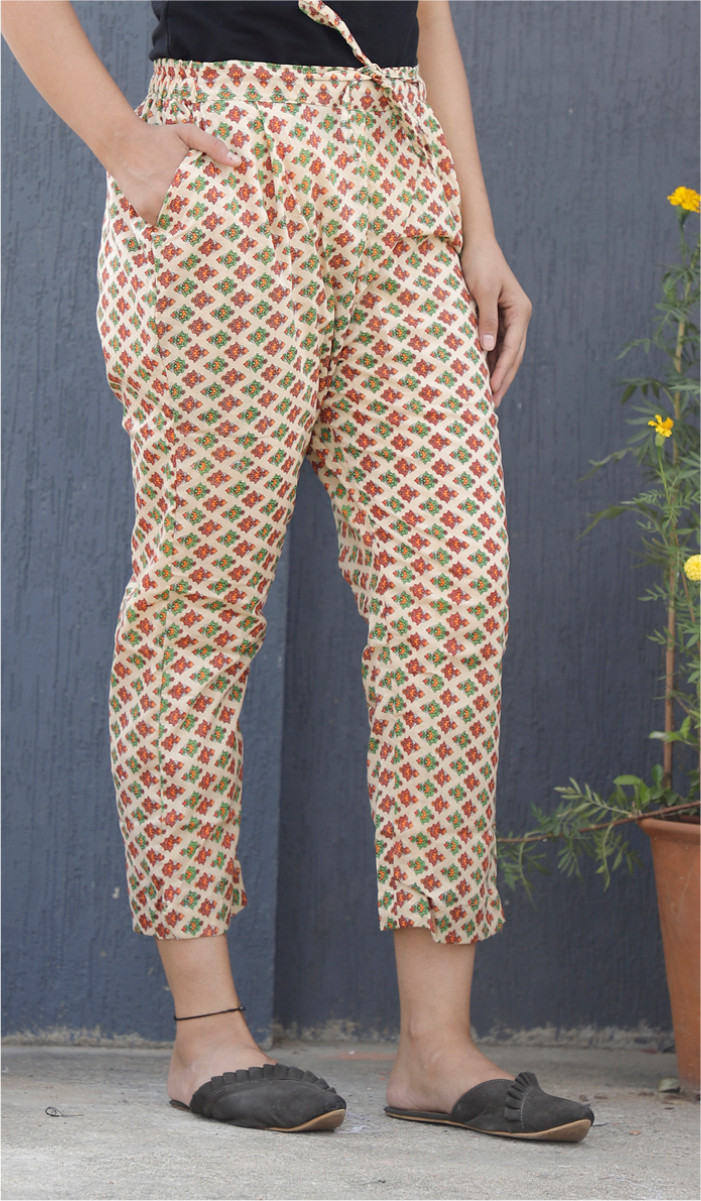 Yellow Red and Green Floral Block Print Cotton Pant-34108