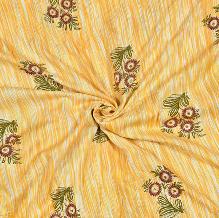 Yellow Red and Green Floral Cotton Flex Fabric-28172