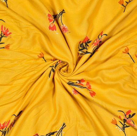 Yellow Red and Green Floral Cotton Flex Fabric-28179