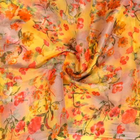Yellow-Red and Green Floral Design Silk Organza Fabric-50019