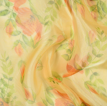 Yellow Red and Green Floral Organza Silk Fabric-22097