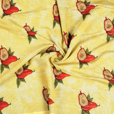 Yellow-Red and Green Jam Cotton Silk Fabric-75060