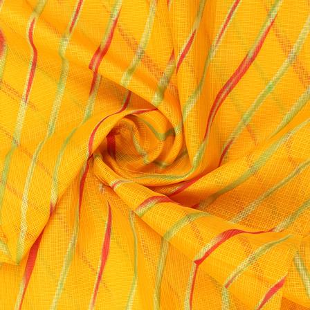 Yellow-Red and Green Lehariya Design Kota Doria Fabric-25078