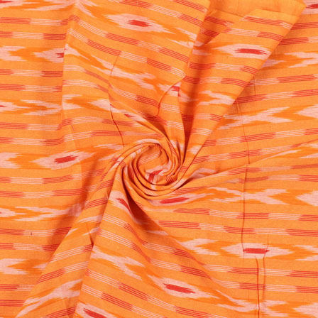 Yellow Red and white Ikat Cotton Fabric-12198