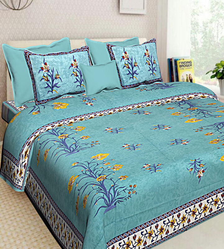 Yellow Sea Green Cotton Jaipuri Bedsheet-642