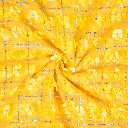 Yellow Silver Floral Net Applique Fabric-19243