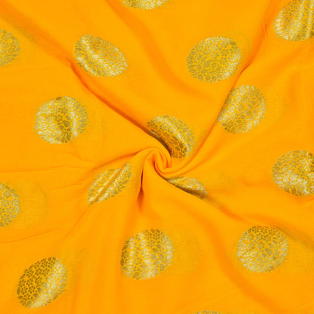 Yellow Silver Gola Georgette Viscose Boota Fabric-41149