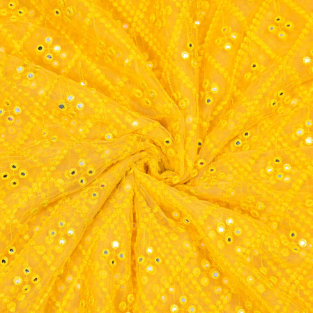 Yellow Silver Mirror Work Net Embroidery Fabric-19170