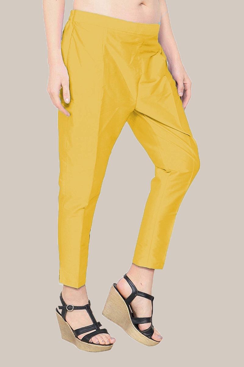 Yellow Taffeta Silk Ankle Length Pant-33978