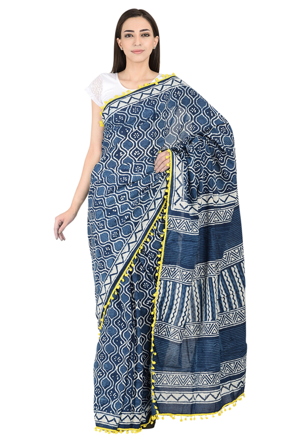 Yellow Tassel Pattern On Blue and White Cotton Indigo Print Saree-20080