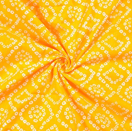 Yellow White Bandhej Block Print Cotton Fabric-28556