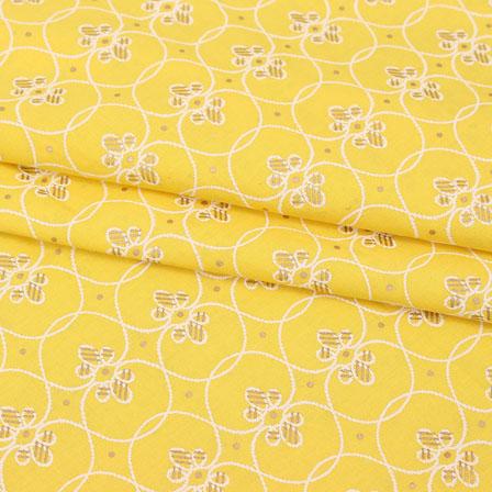 Yellow White Block Print Cotton Fabric-14870