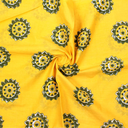 Yellow White Block Print Cotton Fabric-14887