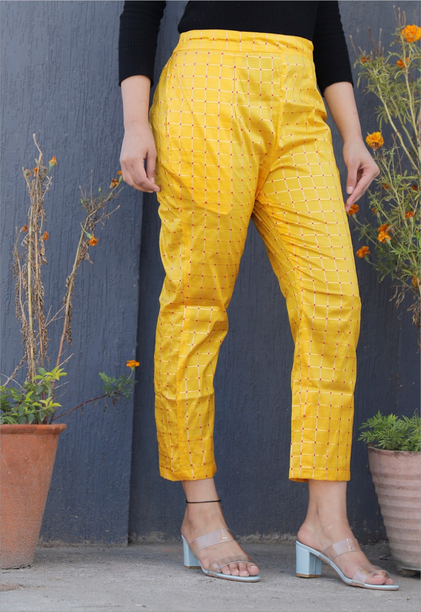 Yellow White Brocade Silk Ankle Women Check Pant-34324