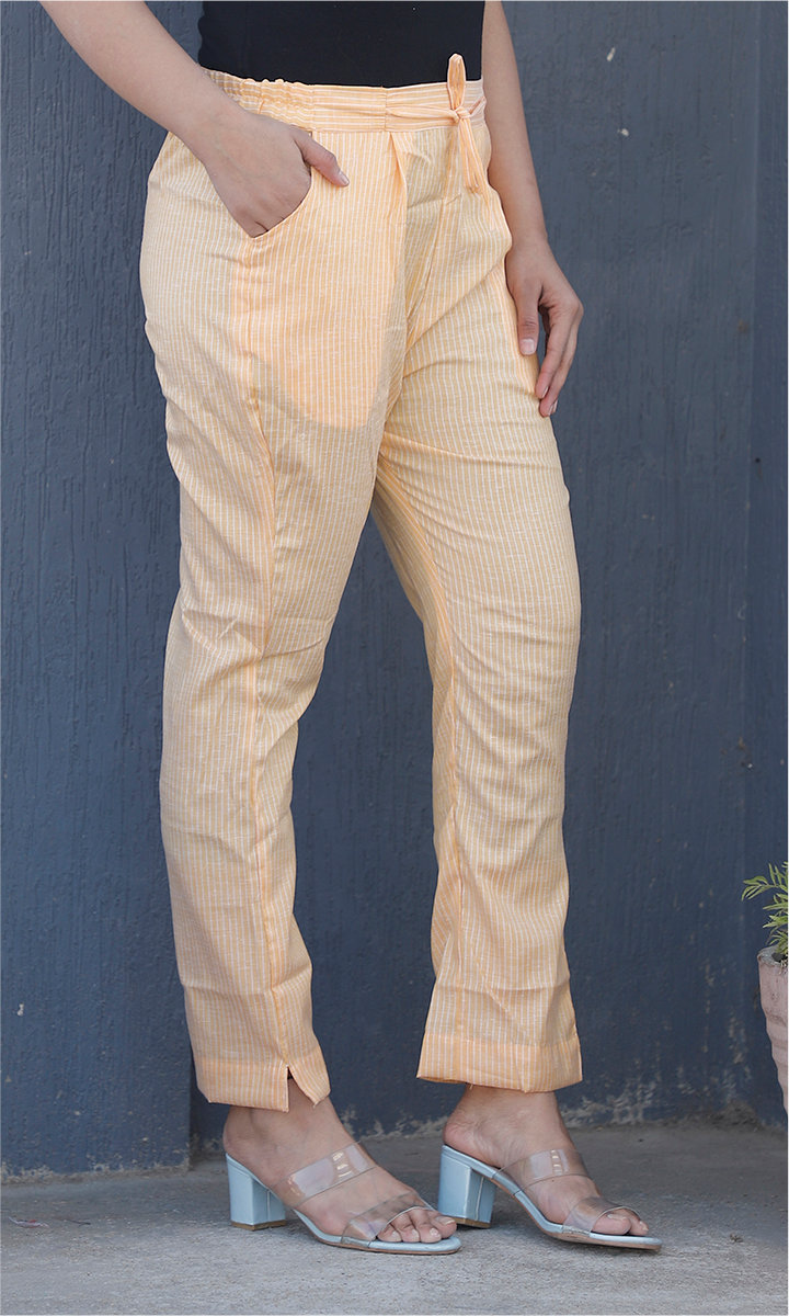 Yellow White Cotton Stripe Ankle Women Pant-34472
