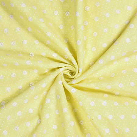Yellow White Flower Cotton Embroidery Fabric-28298