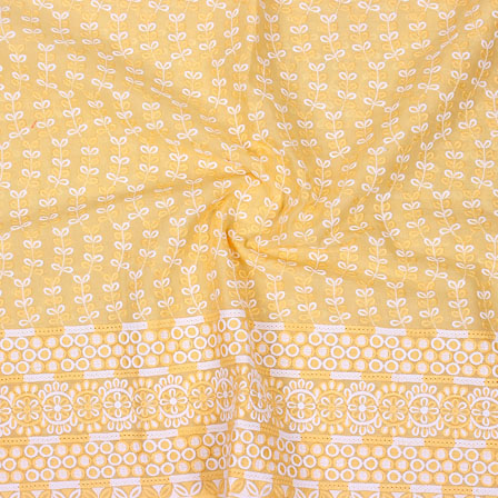 Yellow White Flower Lucknowi Chikan Fabric-95024