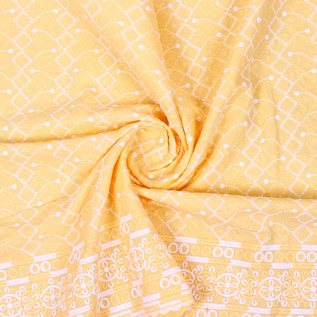 Yellow White Flower Lucknowi Chikan Fabric-95027