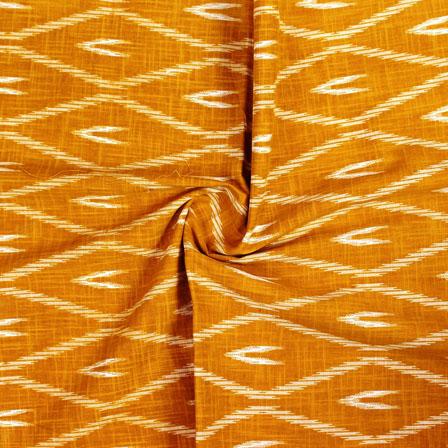 Yellow White Ikat Block Print Cotton Fabric-14851