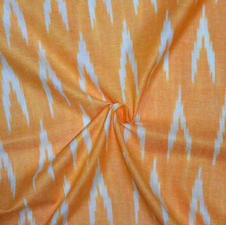 Yellow White Ikat Cotton Fabric-11160