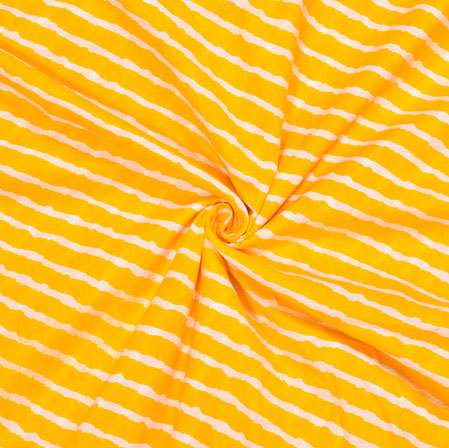 Yellow White Leheriya Cotton Fabric-28081