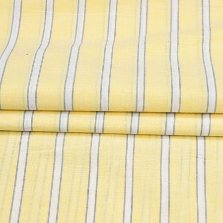 Yellow White Stripe Handloom Cotton Fabric-41034