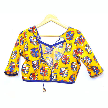 Yellow-White and Blue Elephant Kalamkari Print Cotton Blouse-30066