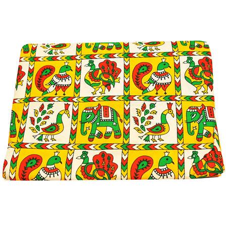 Yellow-White and Green Peacock Pattern Kalamkari Cotton Fabric-5808