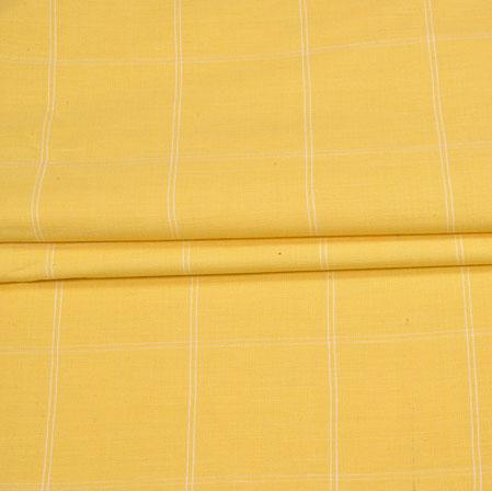 Yellow Yellow Checks Handloom Fabric-42016