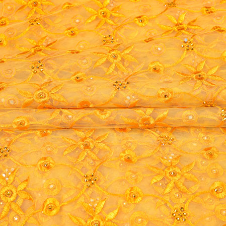 Yellow Yellow Floral Net Embroidery Fabric-19253