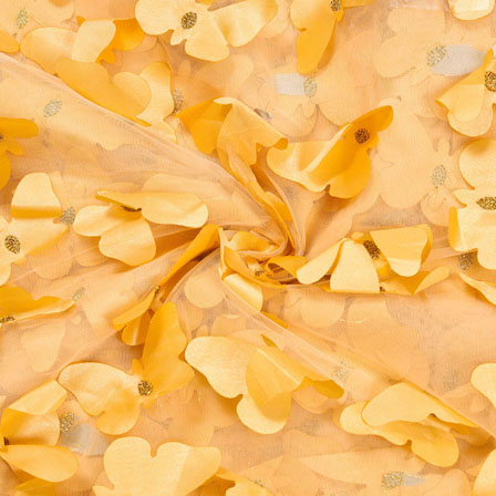 Yellow Yellow Net Butterfly Embroidery Fabric-18794