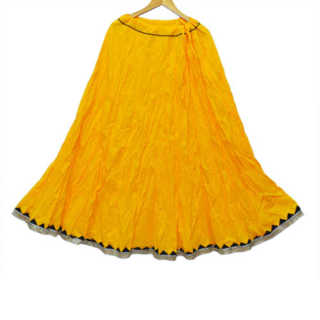 Yellow and Black Plain Cotton Skirt-23039