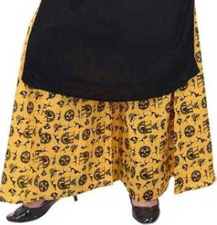 Yellow and Black Rayon Free Size Warli Print Palazzo-3075