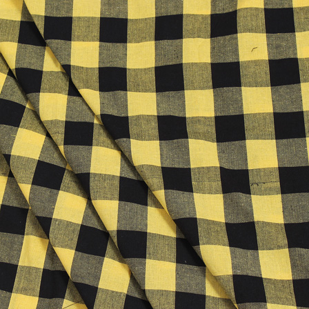 Yellow and Black Tom Tom Checks Handloom Cotton Khadi Fabric-40037