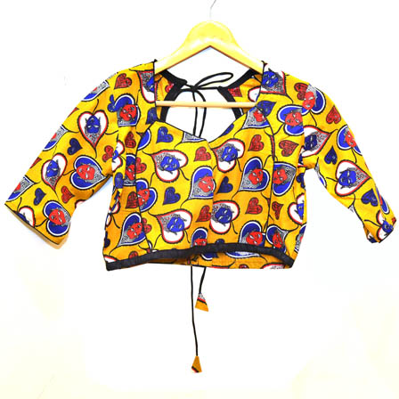 Yellow and Blue Buddha Kalamkari Print Cotton Blouse-30051