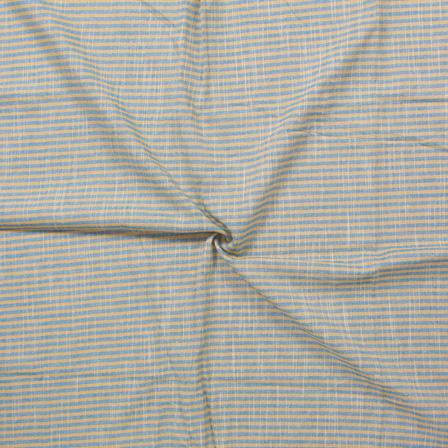 Yellow and Blue Lining Handloom Cotton Stripe Khadi Fabric-40007