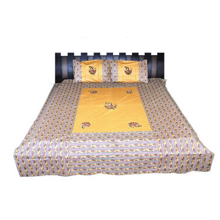 Yellow and Cream  Print Cotton Double Bed Sheet -0RGU01BR