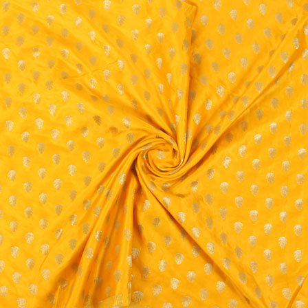 Yellow and Golden Brocade Silk Fabric-8863