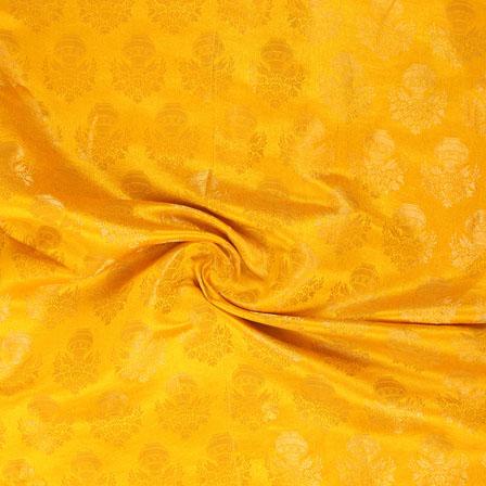 Yellow and Golden Brocade Silk Fabric-8869