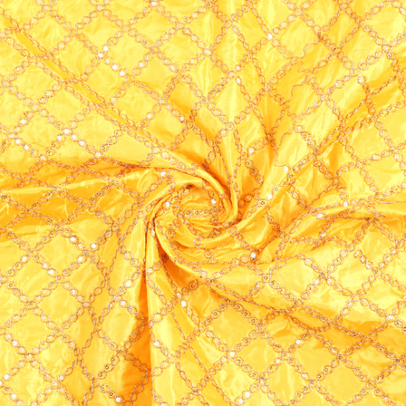 Yellow and Golden Embroidery Silk Fabric-60899