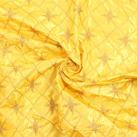 Yellow and Golden Embroidery Silk Fabric-60902