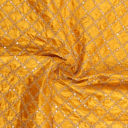 Yellow and Golden Embroidery Silk Fabric-60905