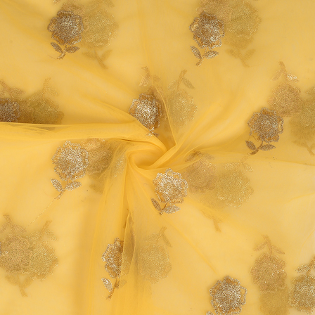 Yellow and Golden Floral Design Embroidery Net Fabric-60325