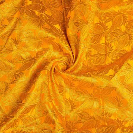 Yellow and Golden Floral Kinkhab Banarasi Brocade Fabric-8499