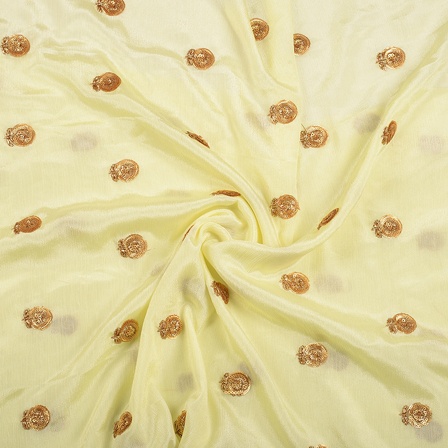 Light Yellow and Golden Floral Malbari Embroidery Silk-60715